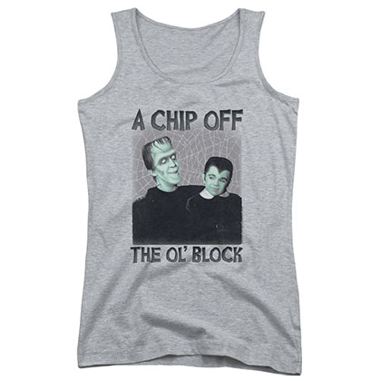 Munsters Chip Gray Juniors Tank Top