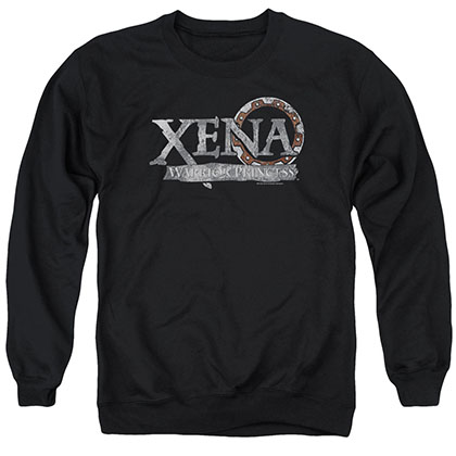 Xena Battered Logo Black Crew Neck Sweatshirt