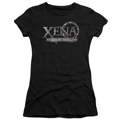 Xena Battered Logo Black Juniors T-Shirt