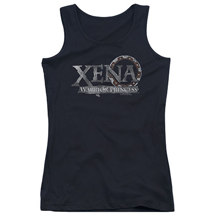 Xena Battered Logo Black Juniors Tank Top