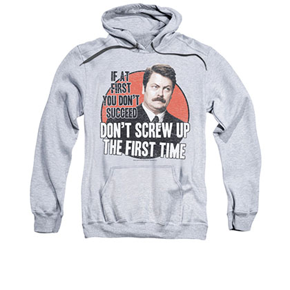 Parks And Recreation Men's Gray Don't Screw Up Pullover Hoodie