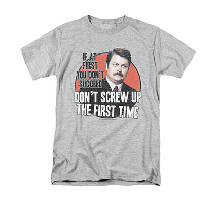 Parks And Recreation Don't Screw Up Gray Tee Shirt