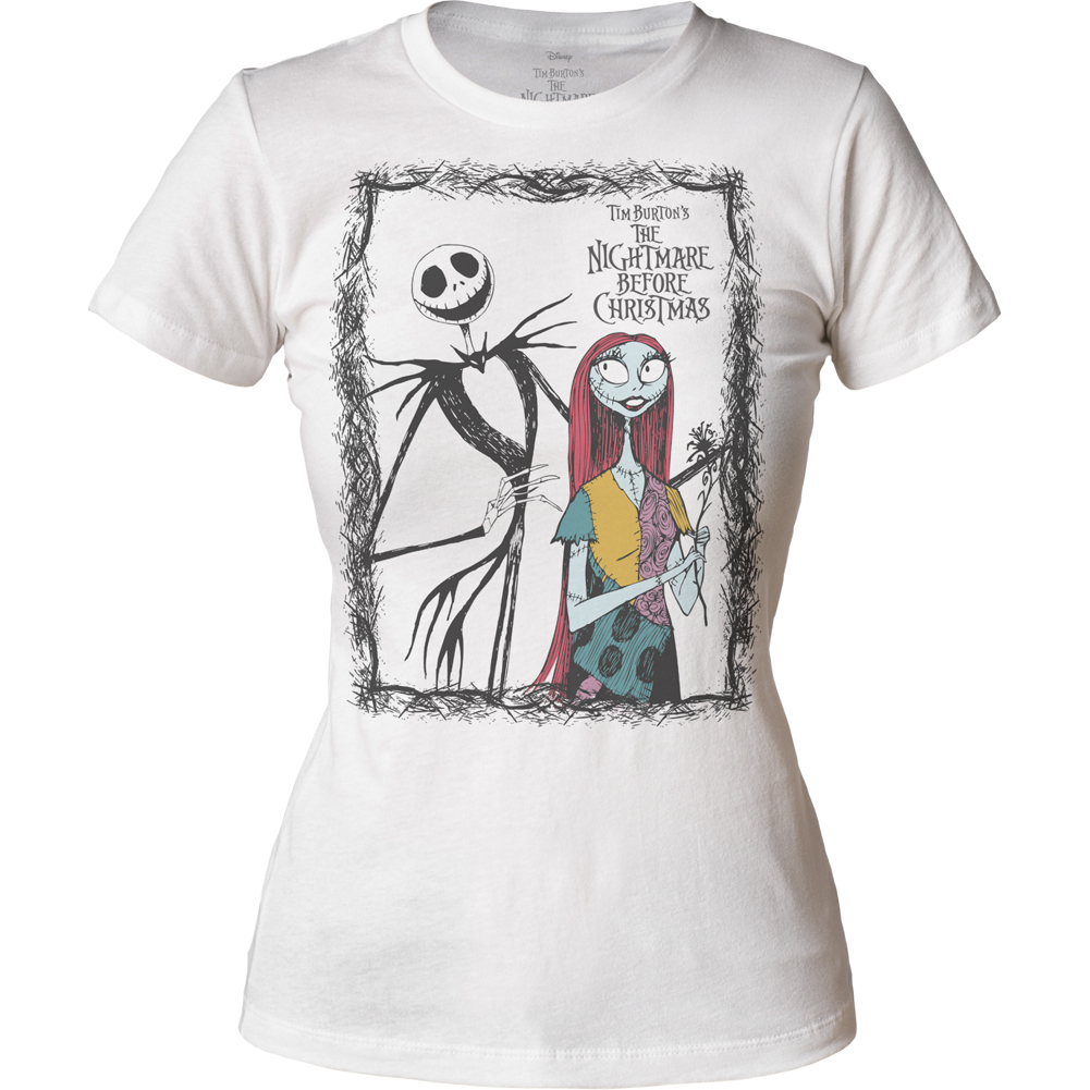 Nightmare Before Christmas Jack And Sally White Ladies Tee Shirt