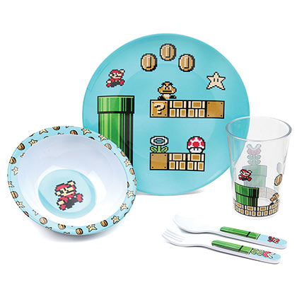 Nintendo Super Mario Bros. Youth Melamine 5 Piece Mealtime Set