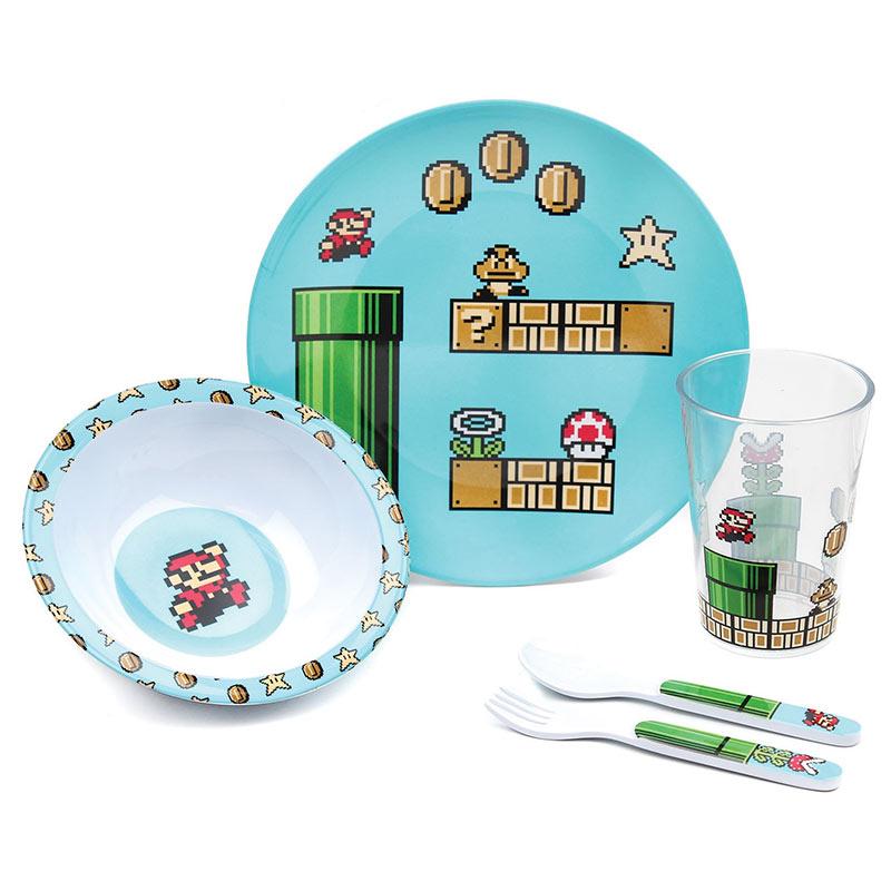 Nintendo Super Mario Bros. Youth Melamine 5 Piece Mealtime Set