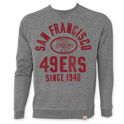 NFL San Francisco 49ers Grey Junk Food Crewneck Sweatshirt