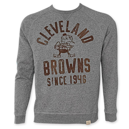 NFL Cleveland Browns Grey Junk Food Crewneck Sweatshirt