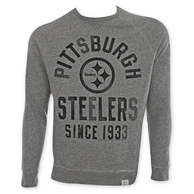 4be6e61c2 NFL Pittsburgh Steelers Grey Junk Food Crewneck Sweatshirt