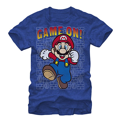 Nintendo Mario Game On Blue T-Shirt