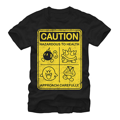 Nintendo Mario Caution Sign Black T-Shirt