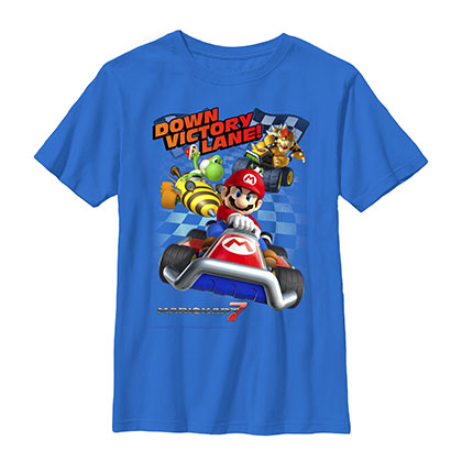 Nintendo Mario Kart Victory Lane Blue Youth Boys 8-20 T-Shirt