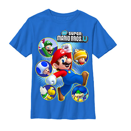Nintendo Super Mario Bros. Cast Blue Youth Boys 8-20 T-Shirt