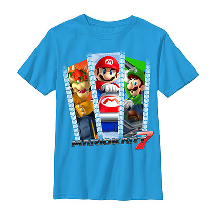 Nintendo Mario Three Rollers Blue Youth Boys 8-20 T-Shirt