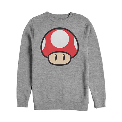 Nintendo Mario Power Up BO Crew Fleece Gray Sweatshirt