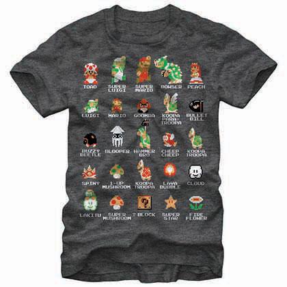 Mario Nintendo Pixel Cast Gray T-Shirt