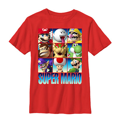Nintendo Super Mario Stacks Red Youth Boys 8-20 T-Shirt