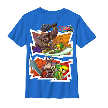 Nintendo Legend Of Zelda Spirit Tracks Blue Youth Boys 8-20 T-Shirt
