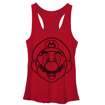 Nintendo Mario Face It Red Juniors Tank Top