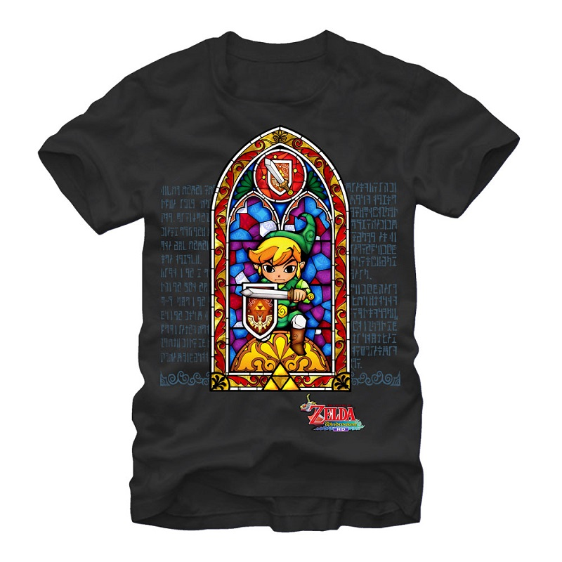 Legend of Zelda Stained Glass Black Tshirt