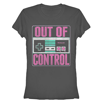 Nintendo Out Of Control Gray Juniors T-Shirt
