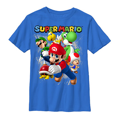 Nintendo Mario Group Shoot Blue Youth Boys 8-20 T-Shirt