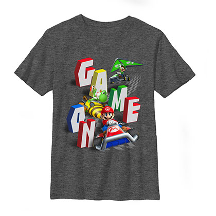 Nintendo Mario Kart Game On Speeders Gray Youth Boys 8-20 T-Shirt