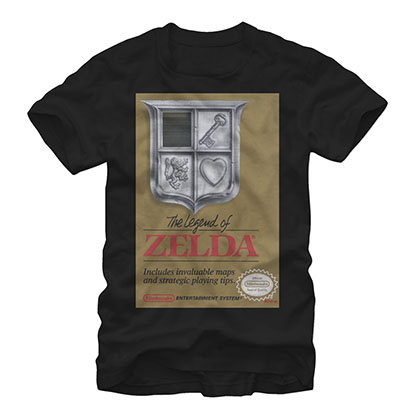 Nintendo Legend Of Zelda NES Gold Cartridge Black T-Shirt