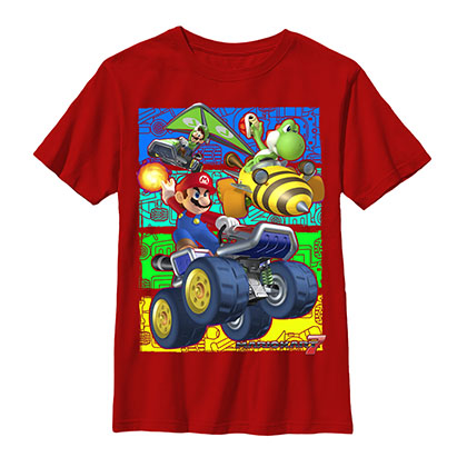 Nintendo Mario Kart Racer Crews Red Youth Boys 8-20 T-Shirt