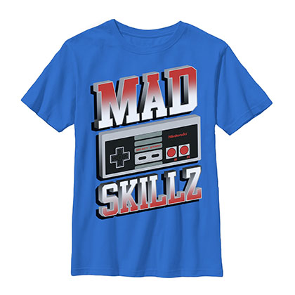 Nintendo Mad Skillz Blue Youth Boys 8-20 T-Shirt