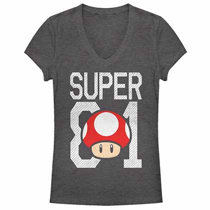 Mario Nintendo Mush Jersey Gray Juniors T-Shirt