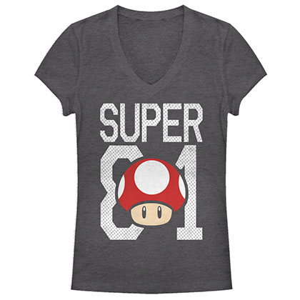 Nintendo Mario Super 81 Mushroom Gray Juniors T-Shirt