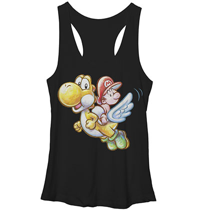 Nintendo Mario Flying Yoshi Black Juniors Tank Top