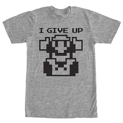 Nintendo Mario I Give Up Gray T-Shirt
