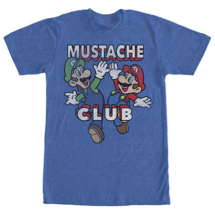 Nintendo Mario Mustache Club Blue T-Shirt