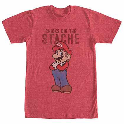 Mario Nintendo Mario Stache Red  T-Shirt