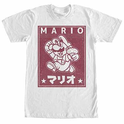 Mario Nintendo Kanji Mario White T-Shirt