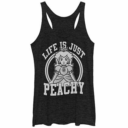 Mario Nintendo Just Peachy Black Juniors Tank Top