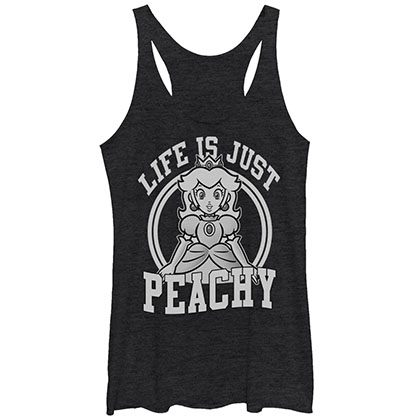 Nintendo Mario Life Is Peachy Black Juniors Tank Top