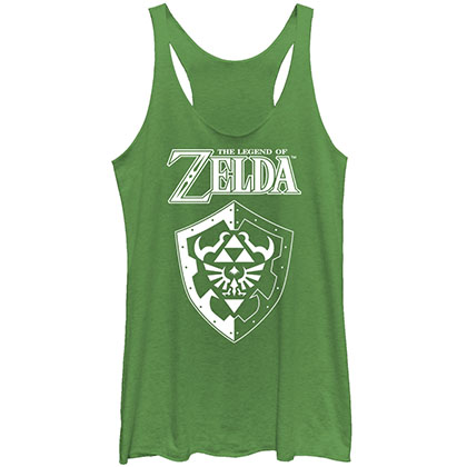 Nintendo Legend Of Zelda Shield Green Juniors Tank Top