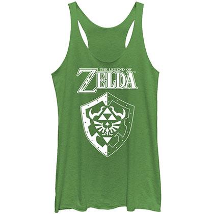 Nintendo Legend Of Zelda Shield Green Juniors Tank Top