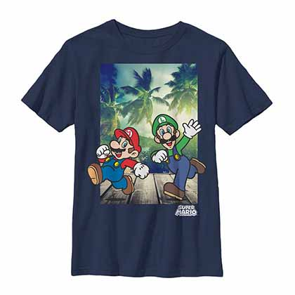 Mario Nintendo Running Mario Blue Unisex Youth T-Shirt