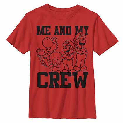 Mario Nintendo The Crew Red Unisex Youth T-Shirt