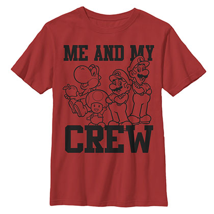 Nintendo Mario Me And My Crew Red Youth Boys 8-20 T-Shirt