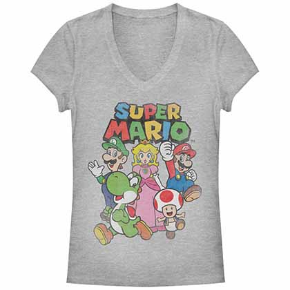 Mario Nintendo Posse Gray Juniors T-Shirt