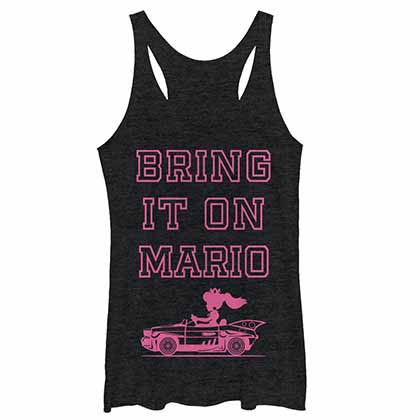 Mario Nintendo Bring It Mario Black Juniors Tank Top
