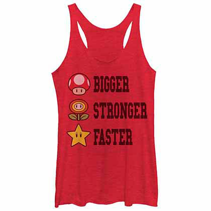 Mario Nintendo Extra Power Red  Juniors Tank Top