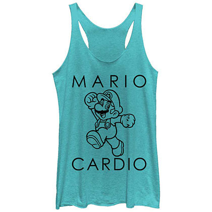 Nintendo Mario Cardio Blue Juniors Tank Top