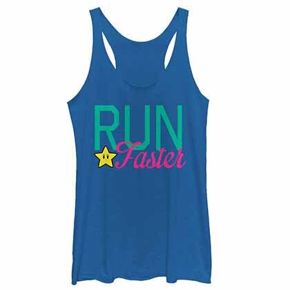 Mario Nintendo Faster Run Blue  Juniors Tank Top