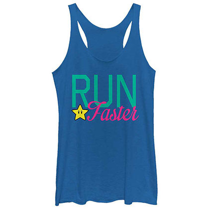 Nintendo Faster Run Blue Juniors Tank Top