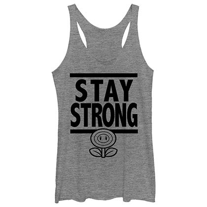 Nintendo Stay Strong Gray Juniors Tank Top